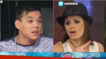 El cruce de Brian y Camila en el debate de Gran Hermano. Foto: Captura