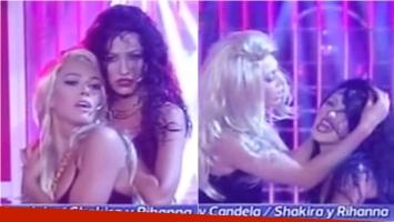 Candela Vetrano y Coki Ramírez fueron Shakira y Rihanna. Foto: Captura