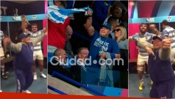 El festejo de Maradona y Los Pumas. Foto: Movilpress /Captura