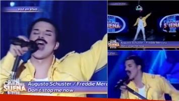 Augusto Schuster fue Freddie Mercury en Tu cara me suena. Foto: Captura