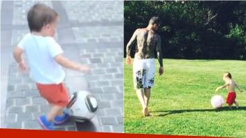 El talento del hijo de Marcelo Tinelli con la pelota (Fotos: Instagram)