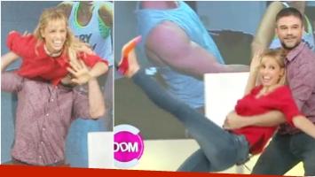 Mariana Fabbiani y Lucas Bertero hicieron unos trucos de baile en El diario de Mariana (Fotos: Captura)