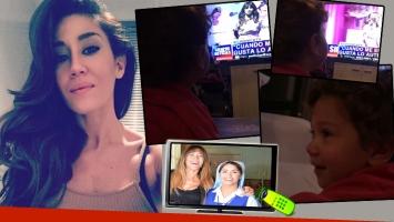 La tierna reacción del hijo de Jimena Barón cuando ve a Lali por TV. Foto: Instagram y web.