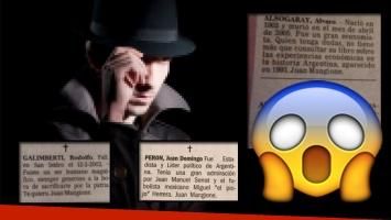 Los misteriosos avisos fúnebres de un tal Juan Mangione. Fotos: Web y Twitter.