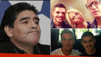 Maradona opinó del conflicto de Maxi López y Mauro Icardi. Fotos: Web.