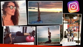 Débora Bello, súper diosa a los 39: yoga playero en bikini y estricta rutina en el gimnasio (Foto: Instagram)