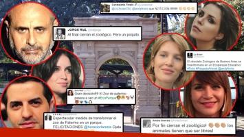 Los tweets de los famosos tras el anuncio de transformar el Zoológico porteño en un ecoparque (Foto: web y Twitter)