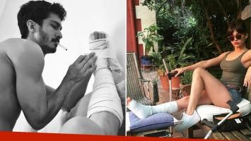 La foto íntima (y sexy) del Chino Darín asistiendo a Úrsula Corberó que se quebró el pie (Foto: Instagram)