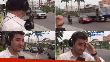 El terrible susto que se llevó un periodista de TyC Sports: casi lo atropella en Ecuador