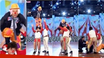 La caída de Tinelli en ShowMatch en un truco con el Bicho Gómez. Foto: Captura
