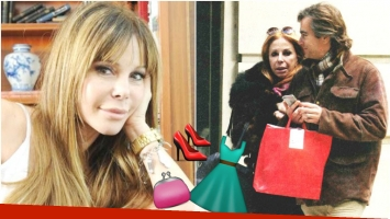 Graciela Alfano, de compras con su hijo Nicolás por la Avenida Alvear (Fotos: Web y revista Paparazzi)