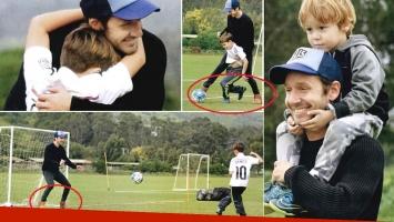 Las vacaciones a puro fútbol de Benjamín Vicuña y sus hijos en Chile (Foto: revista ¡Hola! Argentina)