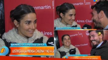 Juana Viale, en un cambio de roles picante: la actriz terminó entrevistando al notero de Intrusos (Foto: Web)