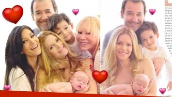 La producción de fotos de la familia Escudero-Navia con la nueva integrante (Fotos: revista Gente)