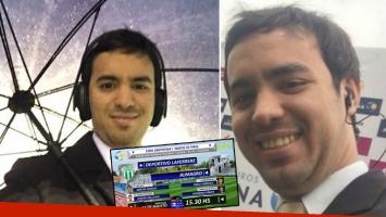 Maxi Fourcade fue separado por tiempo indeterminado de las transmisiones de los partidos del ascenso y Copa Argentina que produce Torneos. Fotos: Twitter.