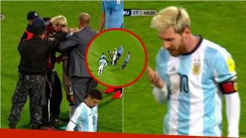 Un fanático entró a la cancha para saludar a Messi y casi lo lesiona