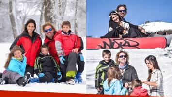 Facundo Arana y María Susini, de vacaciones con sus hijos en la nieve (Foto: prensa)