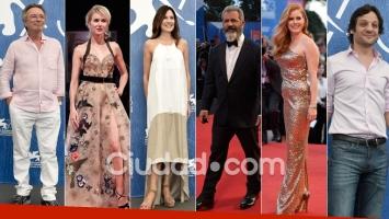 Oscar Martínez, Frigerio y De la Serna junto a estrellas top en el Festival de Venecia. Foto: AFP