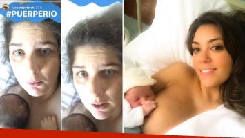 La divertida reacción de Juana Repetto a la selfie de Floppy Tesouro amamantando a su beba recién nacida: