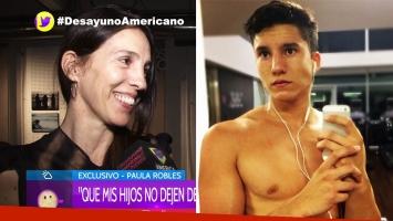 Paula Robles y su hijo Francisco Tinelli.