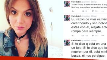El escandaloso decálogo tweetero de Cielo Latini, ¿para un ex? (Fotos: Web y Twitter)