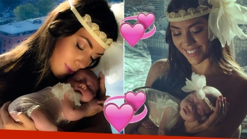 Floppy Tesouro y la primera producción con su beba de 22 días (Fotos: Instagram)