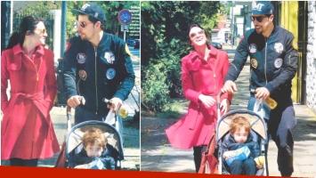 Julieta Zylberberg y Esteban Lamothe, juntos con su hijo de paseo tras los rumores de crisis (Fotos: revista Gente)