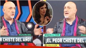 El desubicado chiste de Juan Acosta en Bendita tras la fuerte polémica con una escena de Educando a Nina (Fotos: Captura)