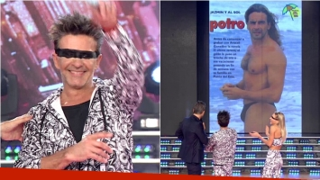 Osvaldo Laport, divertido en ShowMatch sobre una foto en sunga. Foto: Captura