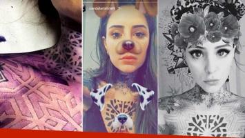 Cande se tatuó el pecho con un jugadísimo diseño geométrico. Foto: Instagram Stories