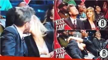 El súper beso de Tinelli y Guillermina Valdés en la kiss cam de un partido de básquet en Nueva York