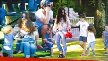 China Suárez y Benjamín Vicuña, junto a sus hijos. Fotos: revista Gente.