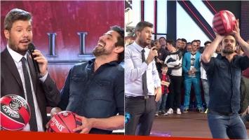 Luciano Castro jugó al basquet con Tinelli en ShowMatch. Foto: Captura