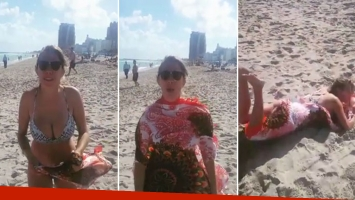 ¡Súper sexy! Nati Jota mostró cómo ponerse un pareo en una playa ventosa