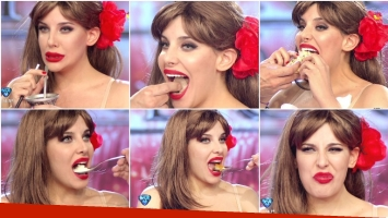 Charlotte Caniggia se animó a probar distintas comidas en ShowMatch (Fotos: Captura)
