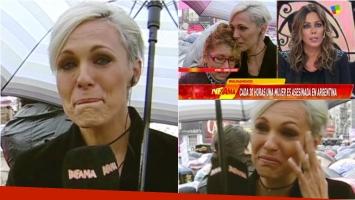 La emoción de Denise Dumas mientras cubría la marcha de Ni una menos para Infama. Foto: Captura