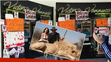 Escrache en la puerta del local de Victoria Vannucci tras la filltración de sus fotos con Matías Garfunkel matando animales (Fotos: redes sociales)