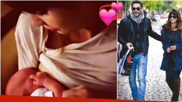 Celeste Cid publicó la primer foto de Anton, su segundo hijo (Fotos: Instagram y revista Gente)