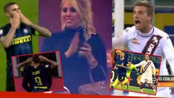 El gol de Mauro Icardi y el festejo de Wanda Nara. Foto: Captura