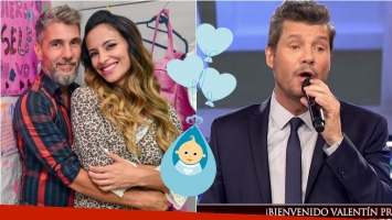 Tinelli anunció en ShowMatch el nacimiento de Valentín, el hijo del Chato Prada y Lourdes Sánchez