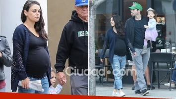 Mila Kunis y Ashton Kutcher, de paseo antes de ser padres por segunda vez. Fotos: Grosby Group.