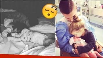 La tierna foto de Mauro Icardi haciendo colecho con sus hijas Francesca e Isabella (Fotos: Instagram)