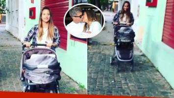 El primer paseo de Lourdes Sánchez y el Chato Prada con Valentín. Fotos: Instagram y Web.