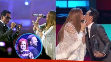 Jennifer Lopez y Marc Anthony cantaron un clásico de los Pimpinela en los Grammy latinos y terminaron dándose un beso. Foto: Captura