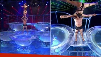 Fede Bal y Laurita Fernández se llevaron el puntaje perfecto en el aquadance de ShowMatch. Foto: Captura