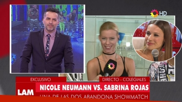 Nicole Neumann y un palito para Pampita. Fotos: Capturas TV.