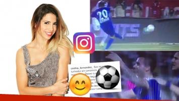 La felicidad de Cinthia Fernández por el gol de Matías Defederico con la camiseta del Mumbai