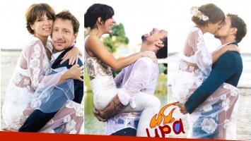Las fotos del particular festejo de Nicolás Vázquez y Gimena Accardi tras convertirse en marido y mujer (Fotos: revista Gente)