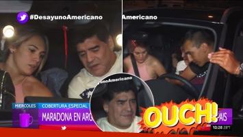 La accidentada llegada al país de Maradona: mirá el blooper que protagonizó al salir de su casa de Devoto
