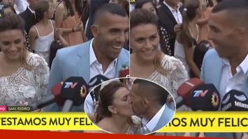 Carlos Tevez, emocionado tras pasar por el registro civil con Vanesa Mansilla (Foto: TN)